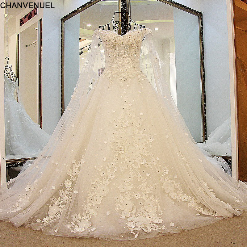 e2df84b91b3e3 US $228.47 49% OFF|LS41596 Luxury Wedding Dresses Princess with Long Cape  Ivory Bridal Gowns Corset Back Robe De Mariee 2017 Real Photos-in Wedding  ...