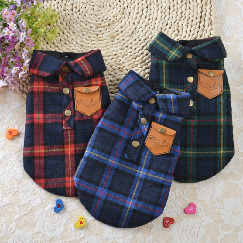 Winter Cat Clothes Plaid Cat Coat Jacket Pet Clothes For Cats Warm Winter Pet Cat Clothing Xs To Xl Blue Green Red 10d25q