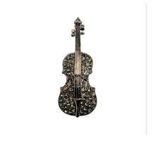 Crystal Violin Brooch (4 Colors)