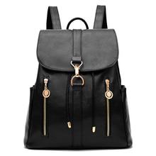 SFG дом моды Дамские туфли из PU искусственной кожи рюкзак для девочек школьные сумки на ремне дамы 2017 старинные молнии рюкзаки черный