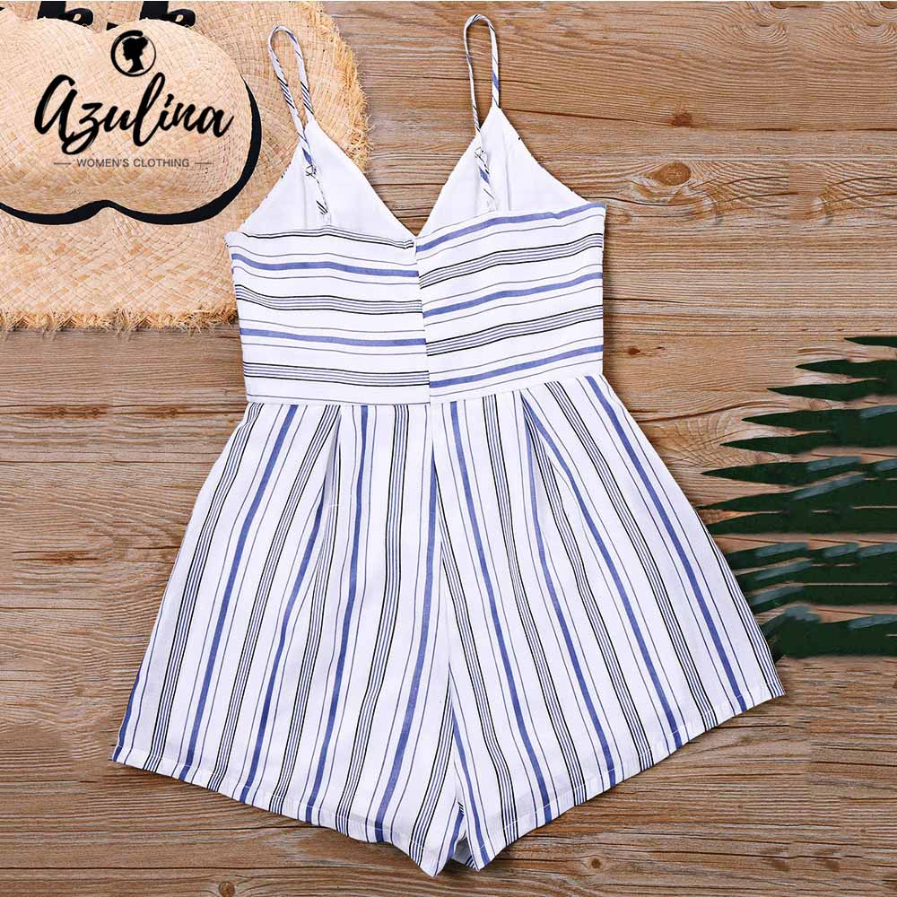 92c51802340 AZULINA Spaghetti Strap Striped Corset Romper Women Playsuits Casual Girl  Lace-Up V Neck Short Jumpsuits Summer Beach Overalls