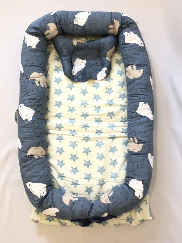 Детская кровать-гнездо с подушкой, детская кровать, snuggle nest. Co-sleeper, детская кровать для путешествий, детский кокон, детская кровать, детская спальная - Цвет: Polar Bear