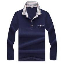 2017 г., весна-осень новый поло Высокое качество Марка с длинными рукавами рубашки поло деловая Повседневная Однотонная рубашка поло мужская брендовая одежда