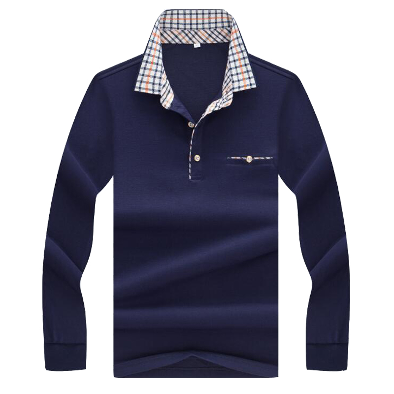 2017 spring  autumn new polo high quality brand long-sleeved men shirt business casual solid clothing