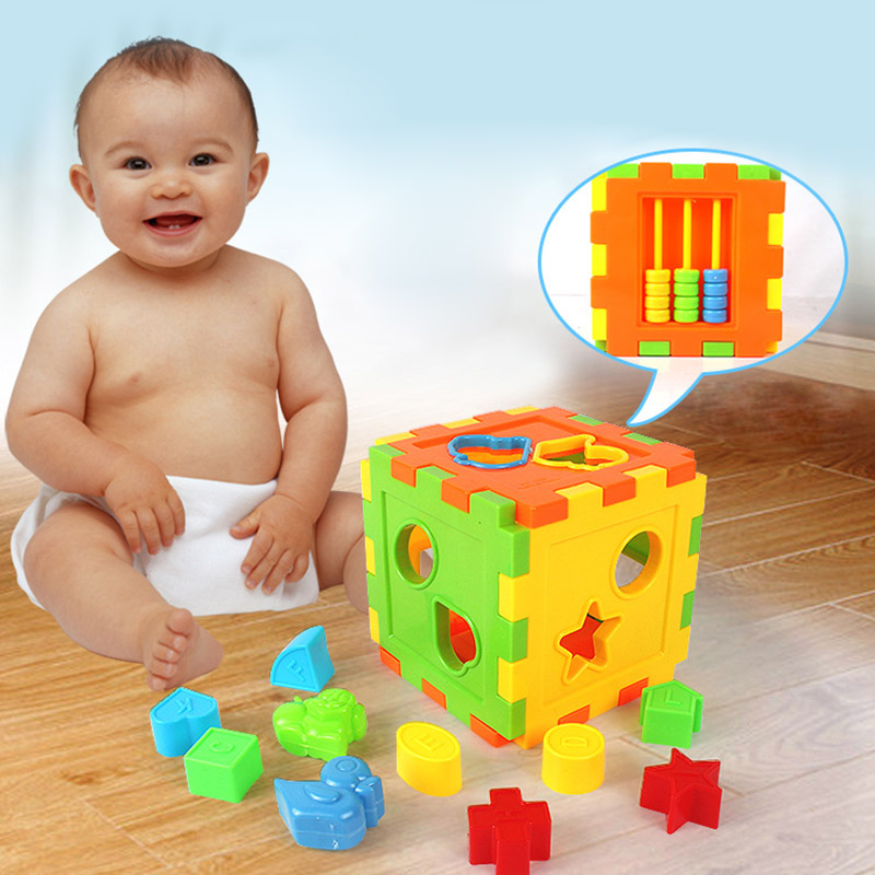 Children Toys Colorful Square Puzzles  Matching Sorting Box Baby Early Educational Kids Games Picture Jigsaw Puzzles Toy M09