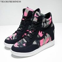 VIGOR FRESHNESS Women Vulcanized Shoes Platform Sneakers High Hidden Heels Canvas Elevator Wedges Camo Female Shoes Lady W262