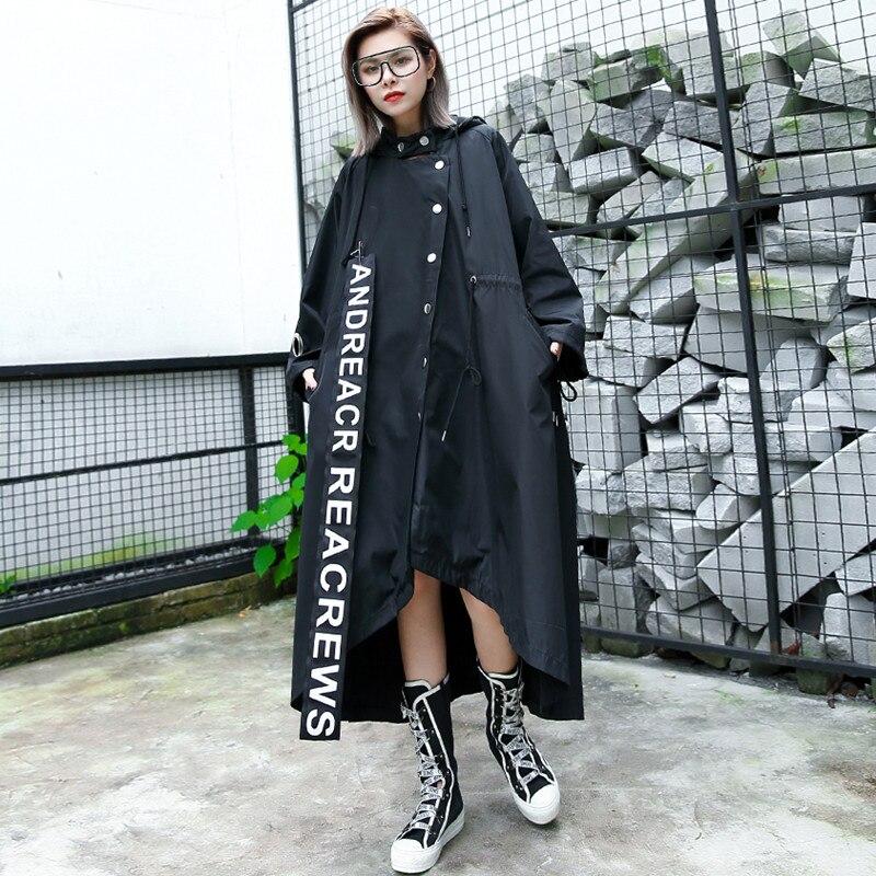 Johnature 2019 Autumn New Plus Size Fashion Women   Trench   Coat Hooded Button Irregular Patchwork Animal Loose Cardigan Coats