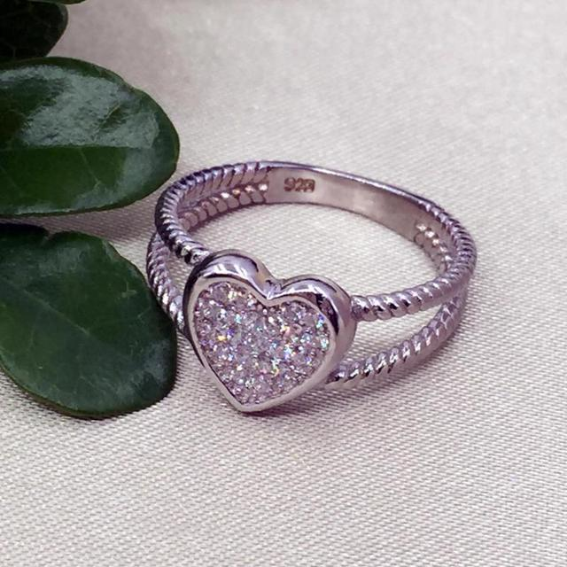 925 Sterling Silver Love Heart White Gold Color 4