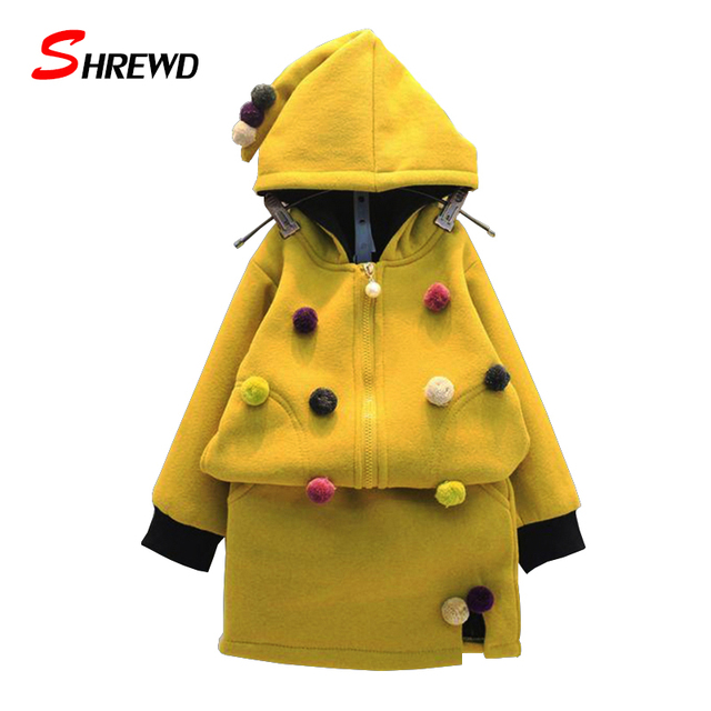 Kids Winter Clothes 2017 New Fashion Hairball Baby Clothing Set Girl Hooded Long Sleeve Zipper Coat+Skirt Girls Clothes 6386Z