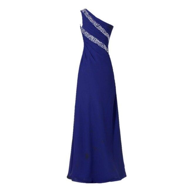 De Longitud de Las Mujeres Vestido de Fiesta de Un Hombro Gasa Vestido de Noche con piedras en la Uva Azul Real