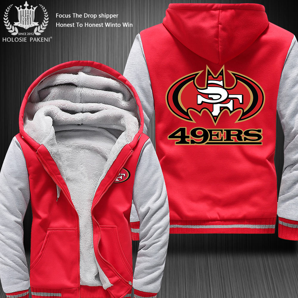 Dropshipping USA Size 49ERS SF Fans Zipper Sweatshirt Jacket Fleece Thicken Custom Jacket Coat Hoodies 8 Colors Costume Made