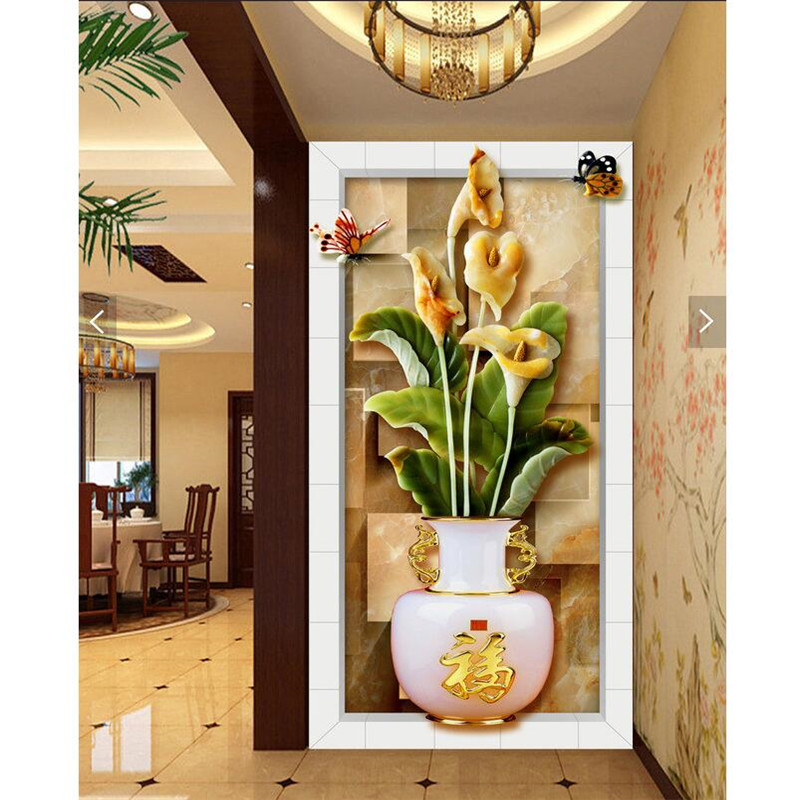 wall paper 3d art mural Chinese lotus relief vase Restaurant Hotel ...