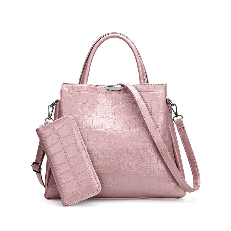 Homeda Brands High Quality Handbags Crocodile Pattern PU Leather 2 Pieces Sets Women Tote Female Messenger Bags sac a main L-114 high quality women handbags crocodile pattern leather fashion shopper tote bags female luxurious lady bags
