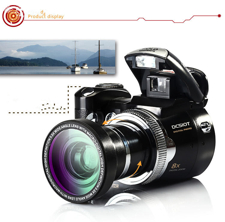 PROD510T 5.0MP CMOS 2.5 di pollice TFT Lcd della Fotocamera Digitale 8X D Zoom Fotocamere Digitali con Proiettori A LED