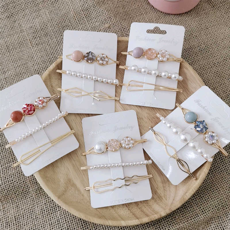 2-6pcs/lot Elegant Pearl Hair Pins Geometric Hair Clips Barrettes Headwear Hairpins Headbands Female Hair Ornaments Accessories