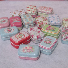 Cheap 32pcs flower pattern small tin box cute Sweet candy case Jewelry storage boxes wedding favors