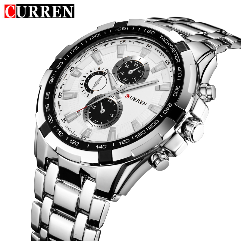 NEW CURREN Mens Quartz Watches Top Brand Luxury With Large Round Dial Business Silver Alloy Band