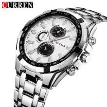 Nueva curren del cuarzo del mens relojes de lujo top brand con gran ronda dial venda de la aleación de plata relojes impermeables hombre de negocios 2017
