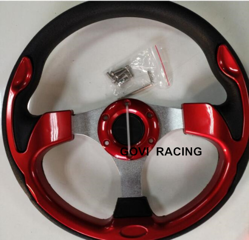 13 320mm red steering wheel with pu and aluminum bracket universal for car racing steeri ...