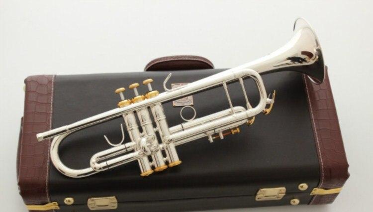 Haute qualité Bach trompette Instrument de musique LT180S-72 plaqué argent B plat trompette Performance professionnelle avec étui gratuit