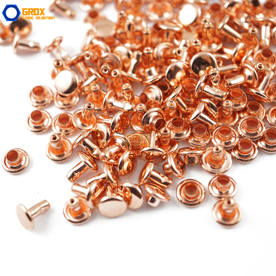 400 set 7*6mm Rose Gold Double Cap Round Rapid Rivet Punk Leathercraft Rivet