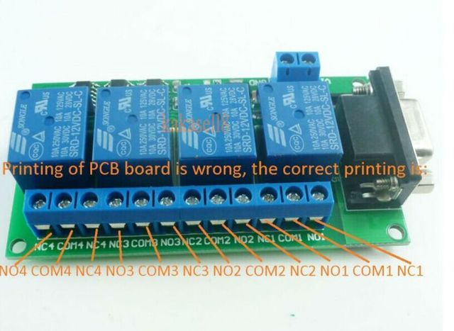 DC 12V 4Ch RS232 Relay Board SCM PC UART DB9 Remote Control Switch PLC Motor Car free shipping
