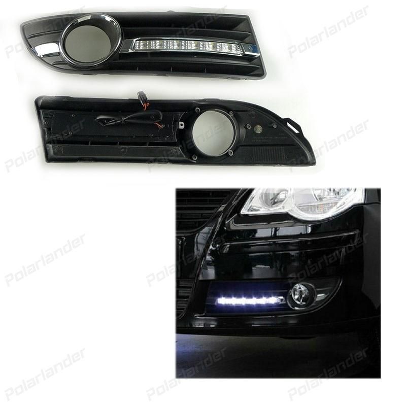 2 pcs Turn signal style Relay 12V 6000k Car DRL Daytime running lights fog lamp for Volkswagen Polo 2005-2008