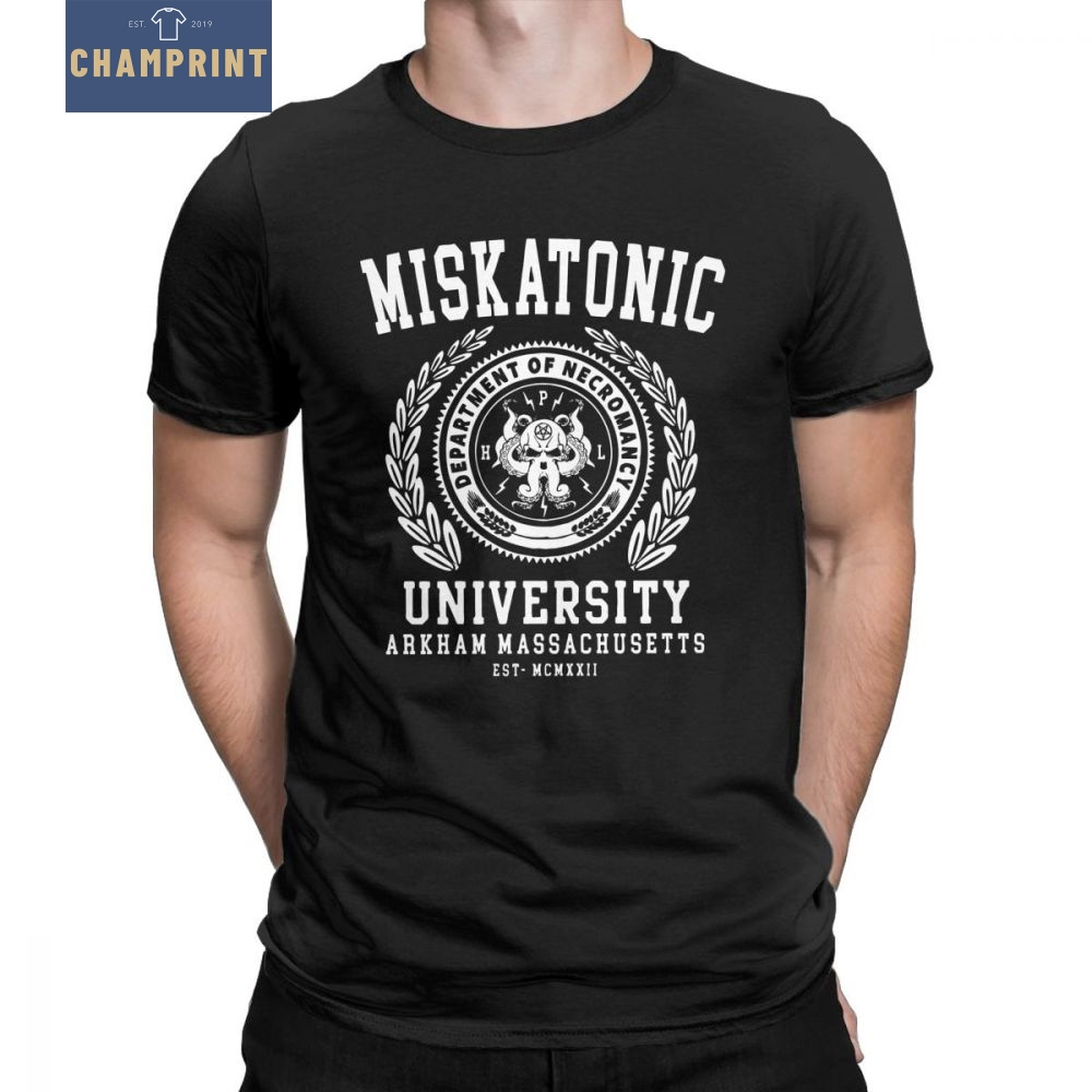 Cthulu And Lovecraft Miskatonic University T-Shirt for Men Call Of Cthulhu Necronomicon Funny Tees Crewneck Cotton Tops T Shirt image