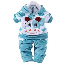 Baby Clothing set leisure baby boys cashmere set shirt sleeved pants cartoon Velour Hoodie two piece set Baby girls clothing