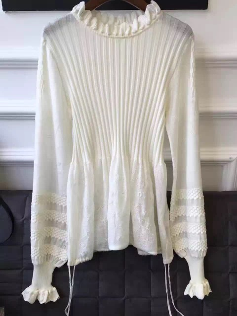 2017 SPRING women brand blouse white knitting shirt lace patchwork women knitting shirt