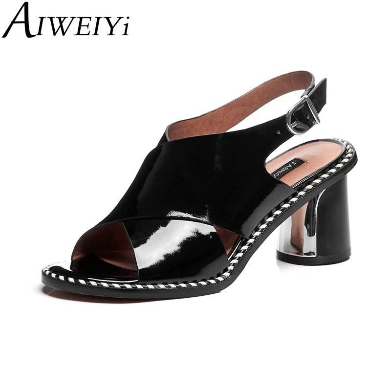 AIWEIYi Summer Elegant Genuine Leather Women Sandals Platform Slingback Shoes Woman High Heels Lady Party Wedding Shoes-in High Heels from Shoes    1