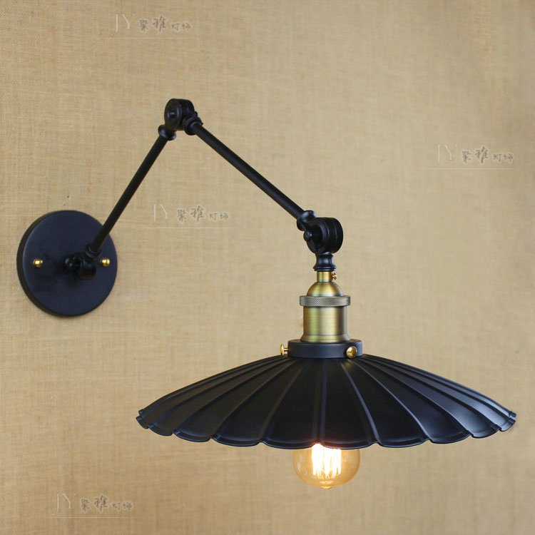 Loft retro Matte Black iron shade adjustable swing arm reading wall lamps Lights e27 / e26 sconce for workroom bedroom bar cafe e27 vintage indoor black wall lamps loft swing rock wall sconce 2 head lights robot arm sconce wall lamp for workroom cafe