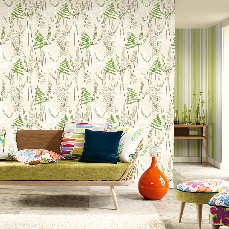 Nordic natural coniferous forest, green leaves, blue wallpaper, study room, living room, sofa, AB background wallpaper tropical rain forest pastoral plant forest pattern wallpaper living room sofa television background wallpaper decoration