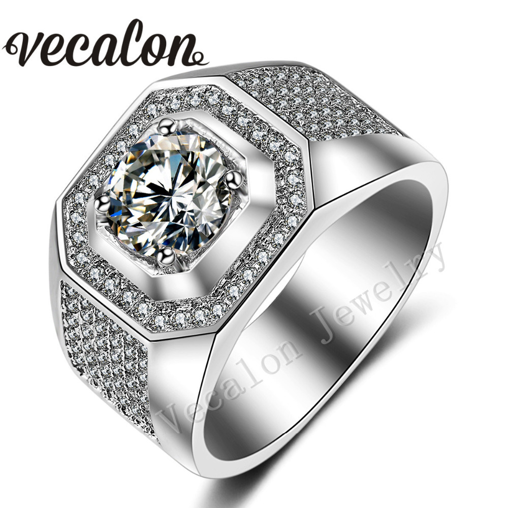vecalon men engagement band ring solitaire 3ct aaa cz aaaaa zircon stone 10kt white gold filled wedding ring for men sz 7 13 - Cheap Wedding Rings For Men