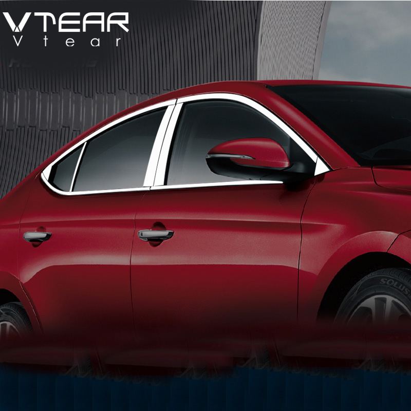 Vtear For Hyundai Elantra window trim cover decoration Exterior Stainless steel car styling products accessory Chromium