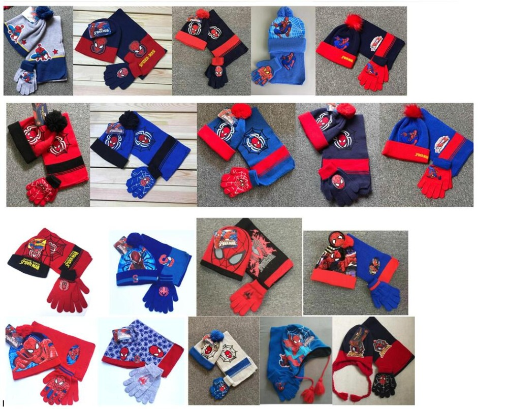1set red avengers Spiderman knit beanie hat children Christmas winter knitted scarf gloves hat set party kids gifts 2-8Y