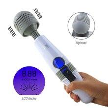 Big Head AV Stick Vibrator Magic Wand Clitoris Stimulation Portable Body Massager LCD Display Touch Vibrator Sex Toys For Women