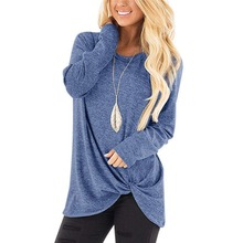 4433dae614e653 Ilfioreemio Women Tunic Top Long Sleeves O Neck Knot Front Loose T-Shirt  Soft Knitted