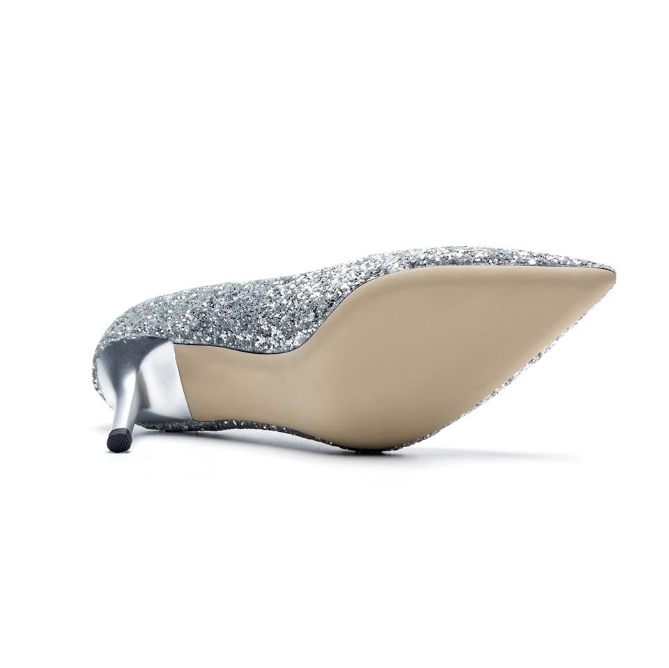 De Noir 7 40 Confortable Chaussures Printemps Bout argent Femmes Tissu Des Taille Cm Hauts 2019 La L'intérieur Pointu Mode À Pompes 34 Talons Main Brillant 0gtqB7