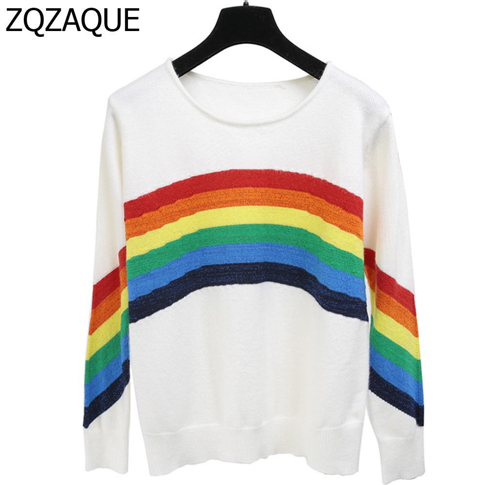 Chinese Celebrity Style Women O-Neck Knitted Tops Long Sleeve Rainbow Stripe All-Match Knitting Pullover Shirts 2019 New Clothes