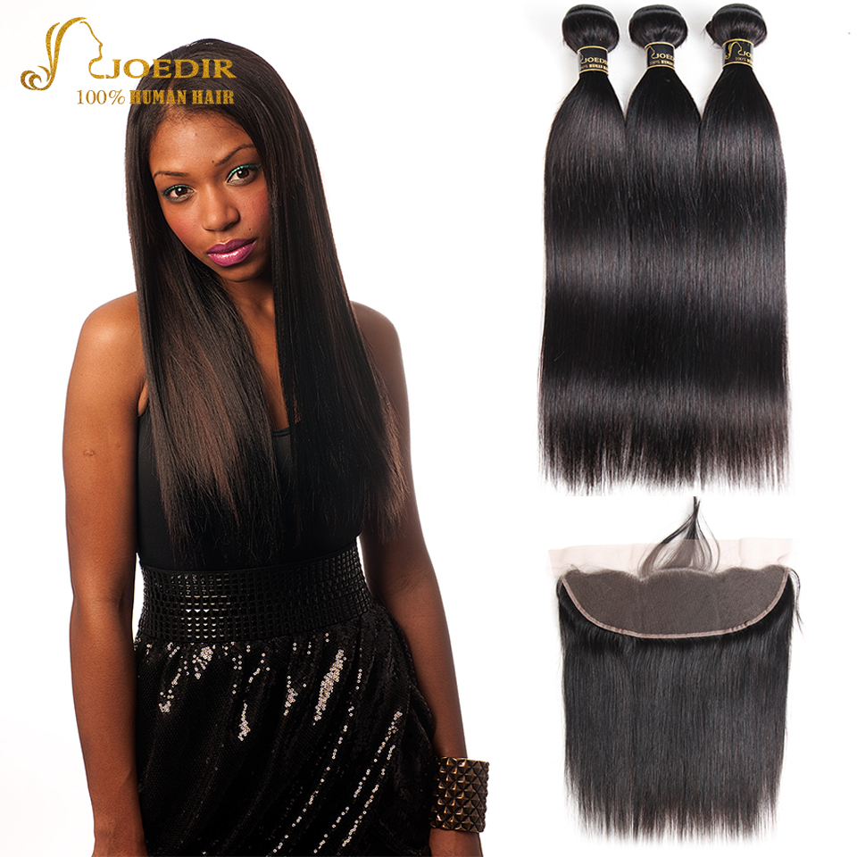Joedir Straight Hair Bundles With Frontal Closure Ear To Ear Frontal With Bundles Indian Hair 3 Bundles With Closure Free Part