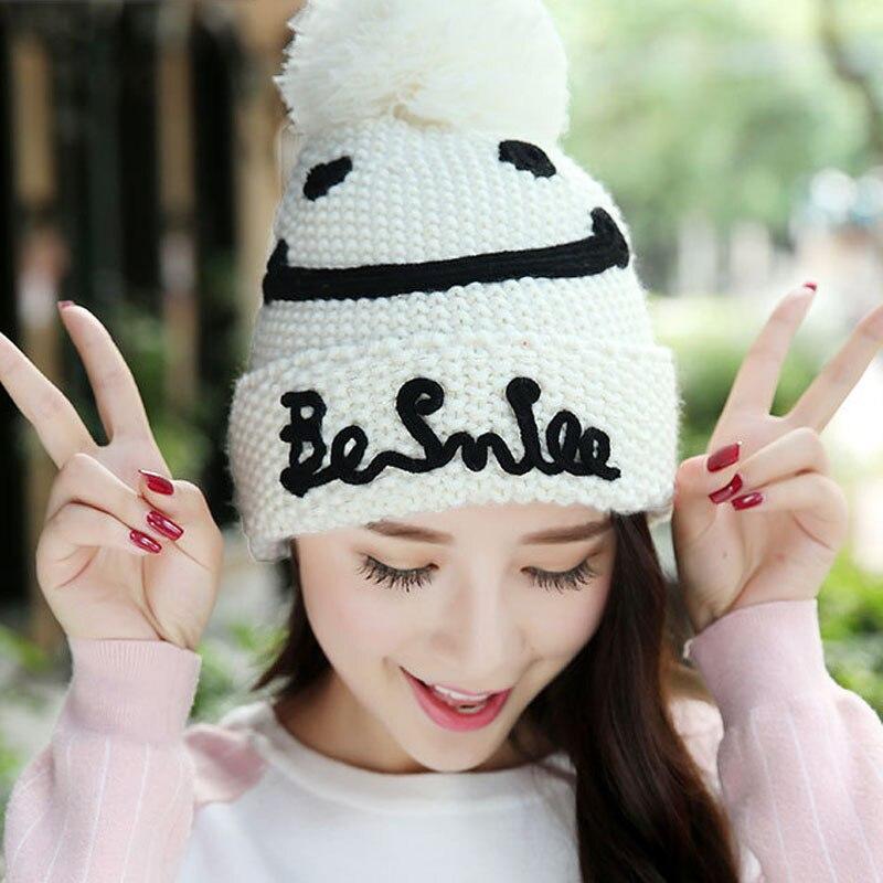 Similing Face Emborideried Velvet Knitted Hat Autumn Winter Hat For Women Fashion Warm Skullies Beanies Female Cap