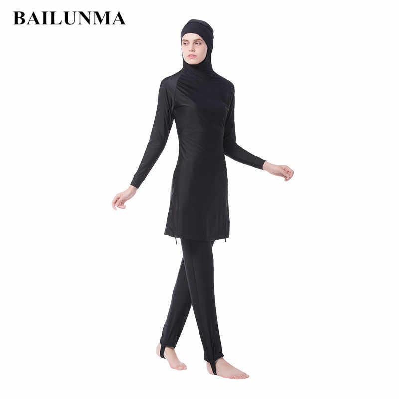 32aee173a29 Plus Size Muslim Swimwear Women Modest Full Cover Swimsuit Islamic Hijab  Islam Swim Surf Wear Sport