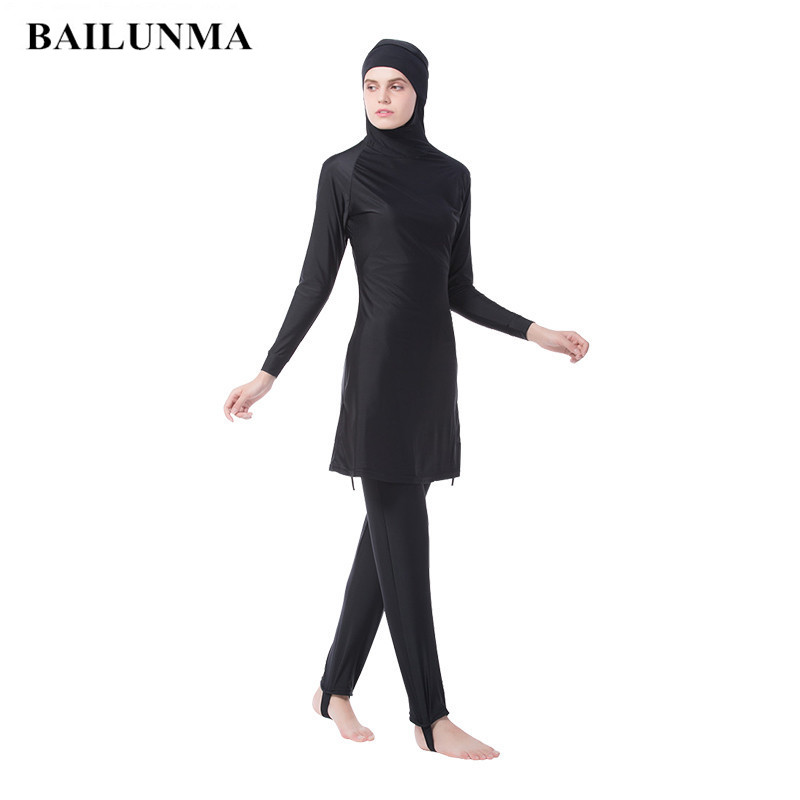 Plus Size Muslim Swimwear Women Modest Full Cover Swimsuit Islamic Hijab Islam Swim Surf Wear Sport Burkinis Beachwear Bathing
