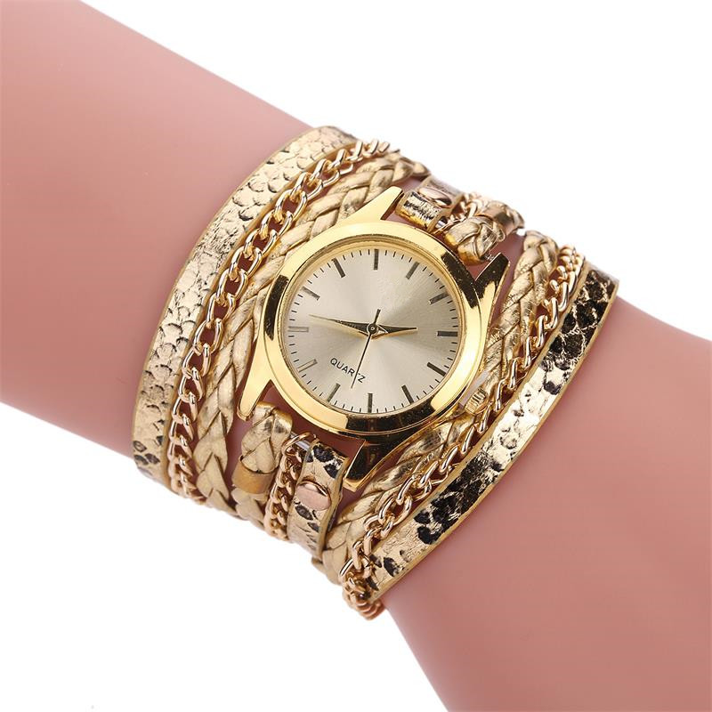 MINHIN Brand Quartz Watches Women Gold Geneva Bracelet Wristwatch Ladies Dress Woven Leopard Multi Layers Leather Strap Watch