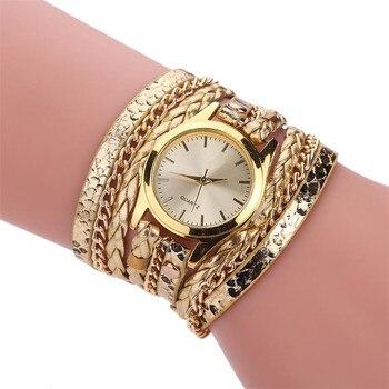 Women Gold Geneva Bracelet Wristwatch