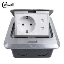 Coswall جميع الألومنيوم الفضة لوحة 16A الاتحاد الأوروبي القياسية المقبس العالمي 2 حفرة المنبثقة الطابق المقبس مخرج طاقة
