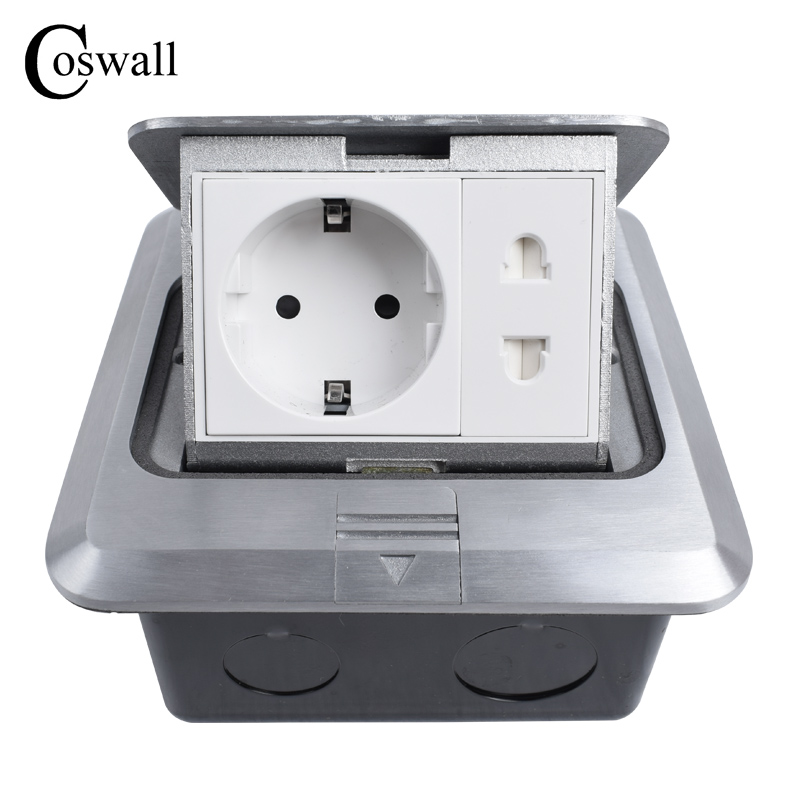 Coswall All Aluminum Silver Panel 16A EU Standard Socket + Universal 2 Hole Pop Up Floor Socket Power Outlet manufacturer all aluminum panel eu standard pop up floor socket single power outlet dual usb port page 2
