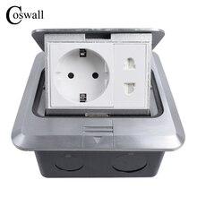 Coswall Tất Cả Bằng Nhôm Bạc Bảng 16A EU Ổ Cắm + Đa Năng 2 Lỗ Bật Lên Tầng Ổ Cắm Ổ Cắm Điện