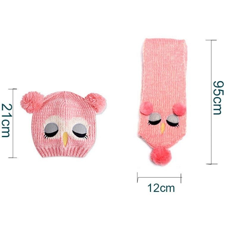 Baby Kids Boy Girls Solid Caps Scarf Winter Warm Cotton Wool Knitted Cute Owl Hat+Beanie Scarf 2pcs/Set Children Neck Warmer Cap